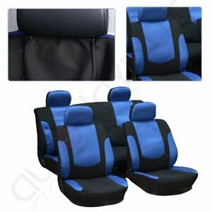 Qty10 Soft Sponge Padding Durable Blue Black Car Seat Covers W Headrest Covers