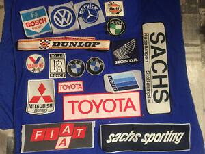 Vtg Lot Woven Patches Rally Race Grand Prix Sachs Toyota Vw Mercedes Gulf Nos