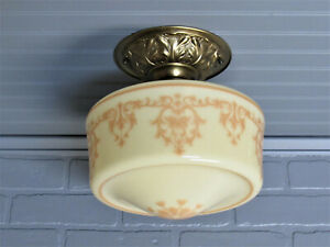 Vintage Antique Semi Flush Mount Ceiling Light Early 1900 S Custard Glass Brass