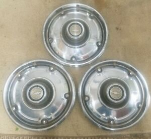 Vintage Lot Of 3 Used Metal 1960 S 1970 S Chevrolet Truck Hubcaps
