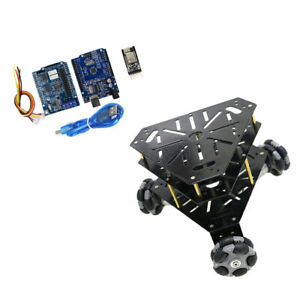 Wifi Control Alloy Tank Chassis Smart Robot Arduino Kit 3 Floors Omni Wheels