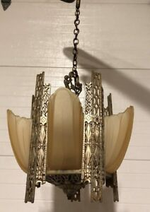 Art Deco Slip Shade 5 Light Chandelier