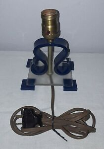 Vintage Mid Century Modern Lucite Table Lamp Blue And Clear Works