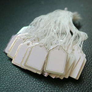 500pcs Blank Label Tie String Strung For Jewelry Clothing Display Price Tags