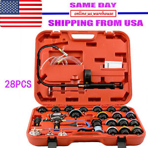 28pc Cooling System Radiator Pressure Tester Kit W Coolant Purge refill Adapter