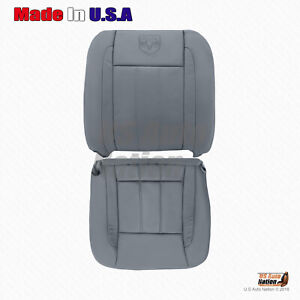 Fits 2006 2007 Dodge Ram Laramie Driver Bottom Top Leather Seat Cover In Gray