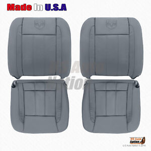 2006 2007 2008 2009 Dodge Ram Laramie Front Bottoms tops Leather Seat Cover Gray
