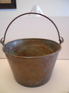 Early Brass Bucket Dated 1851 With Forged Iron Handle