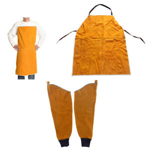 Welding Protective Work Apron Bib 1pair Split Sleeves For Welders Yellow