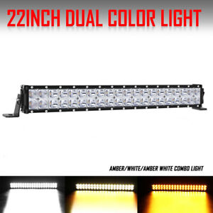 22inch Led Light Bar Spot Flood Combo Amber 3000k White 6000k Fog Lamp 20 24