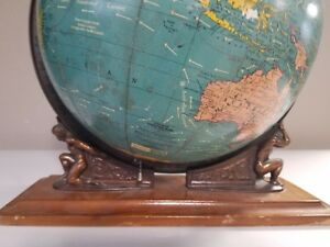 Cram S Unrivaled Terrestrial Globe 12 Lighted Dual Atlas C 1951