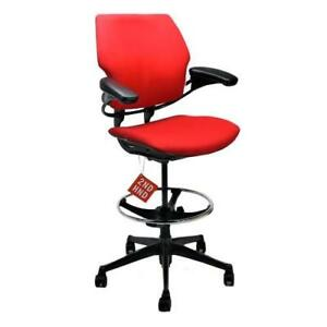 Humanscale Freedom Med Back Draughtsman Chair Recovered In New Red Fabric