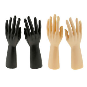2 Pair Male Mannequin Hand Jewelry Bracelet Ring Watch Gloves Display Stand