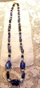 Vintage Chinese Blue And White Porcelain Bead Sapphires Agates Necklace