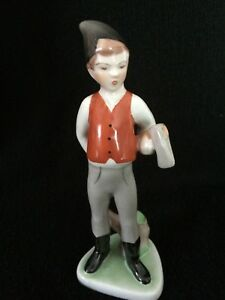 Vintage Hungarian Porcelain Figurine Boy With Axe