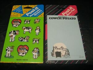 Vintage 1988 Post it Cows Memo Sticky Note Pad W 1990 Cows 4 sheet Stickers New