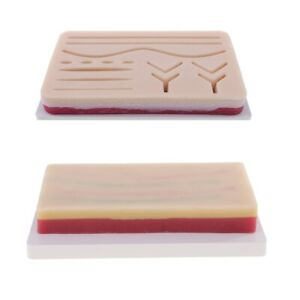 2x Lab Human 3 layer Skin Pad Wound Suture Training Repeated Practice Tool
