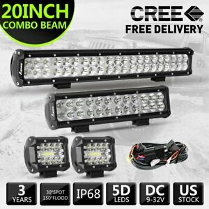4 12 20 Inch Cree Led Work Light Bar Spot Flood Combo Offroad Driving Lights