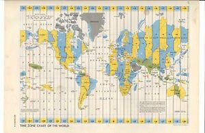 1947 Vintage World Time Zone Chart Map Color 16 5in By 12in Ready For Art