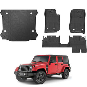 Oedro Tpe Floor Mats Tray Cargo Liners Fit For 2014 2018 Jeep Wrangler Jk