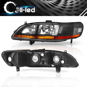 For 1998 1999 2000 2001 2002 Honda Accord Black Headlights Headlamps Replacement