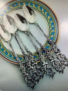 19th C German Hanau Set Of 6 Sterling Silver Long Spoons With Putti