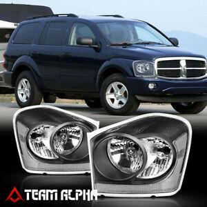 Fits 2004 2006 Dodge Durango black clear crystal Corner Headlight Headlamp Lamp