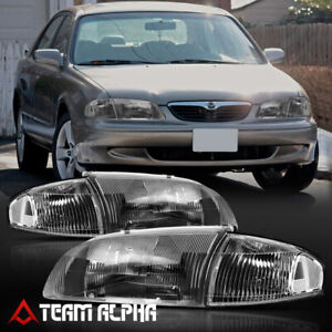 Fits 1998 1999 Mazda 626 black clear crystal Turn Corner Headlight Headlamp Lamp