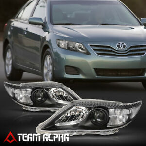 Fits 2010 2011 Toyota Camry Black Clear Crystal Corner Projector Headlight Lamp