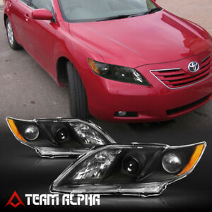 Fits 2007 2009 Toyota Camry black clear Amber Corner Projector Headlight Lamp