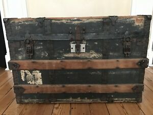Antique Jj Schuff Ny Steamer Trunk Semi Dome Top Wood Metal Treasure Chest