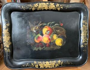 Vintage Black Tole Tray With Handpainted Bird S Nest And Fruits