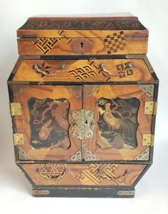 15 Antique Chinese Wood Inlayed Painted Jewelry Chest Box Very Finely Made