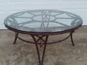 Vintage Faux Bamboo Metal Round Coffee Table With Tassles Bevel Edge Glass Top