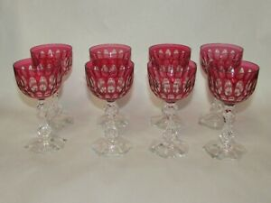 Antique Cut Ruby To Clear Crystal Wine Glasses Set Of 8 French