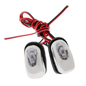 1 Pair Car Hood Windshield Spray Nozzle Wiper Washer With Led Lights Red