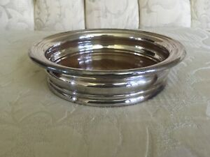 Vtg Silver Plate On Copper Wine Coaster Victorian Wood Bottom 6 3 4 X 1 1 2