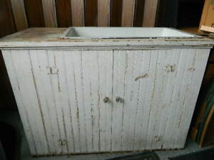 Antique Rustic Beadboard Waincoting Dry Sink Cabinet With Cast Iron Sink