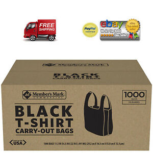 New 1000 T shirt Carry Out Plastic Bags Recyclable Retail Grocery Shopping Black