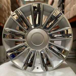 22 Rims Platinum Style Silver Chrome Wheels Fit Cadillac Escalade Ext Esv 24