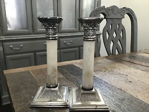 Marble Silver Plate Plated Corinthian Column Candlestick Pair Antique