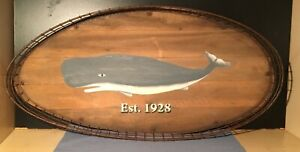 Vintage Nautical Art Whale Painting Hatch Cover Clam Basket
