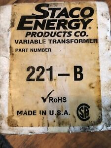 Staco Energy Prodcuts Company 221 b 120vac 2 5a Variable Transformer