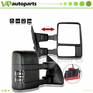 Fits 2008 2016 Ford F250 Super Duty Manual Side Black Tow Mirrors Pair