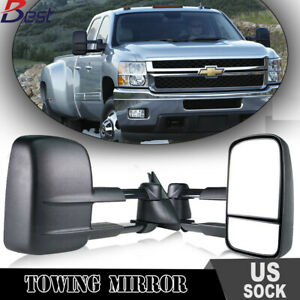 For 88 98 Chevy Gmc C k 1500 2500 3500 Tow Mirrors Manual Black L r Pair