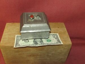 Antique Chinese Paktong Pewter Box W Jade Or Hardstone Lid Signed
