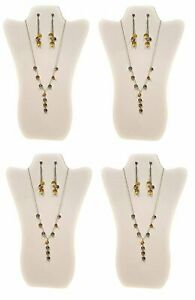 Value Series Necklace Display Stand With Easel 4 White Leatherette curved