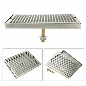 12 Surface Mount Kegerator Beer Drip Tray Stainless Steel Tower W Brass Drain