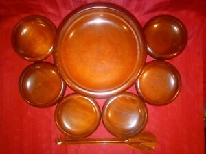 Vintage Set Of 9 Caribcraft Hand Crafted Mahogany Wooden Salad Bowls W Utensils
