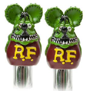 Green Rat Fink Valve Caps Pair Mooneyes Moon Rod Hot Chevy Ford Gm Mopar Dodge